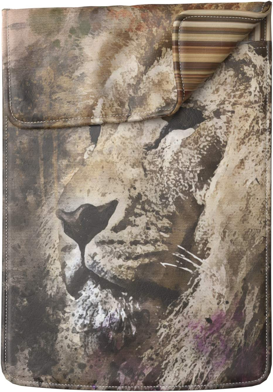 Lex Altern Laptop Sleeve Case for MacBook Air 13 Mac Pro 16 15 Retina HP Dell ASUS Acer Lenovo 11 12 14 17 inch 2020 Painted Lion Watercolor Animal Nature Wild Cover Protective Design Women Leather