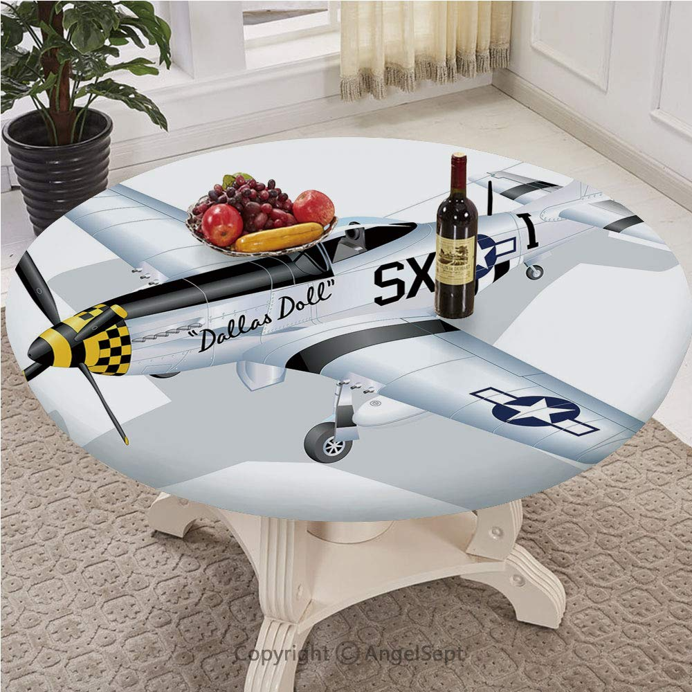Patterned Fitted Table Cover with a Drawstring Polyester,Customized Round,The Ultimate Protect Table,Full-size,Vintage Airplane Decor,P 51 Mustang Dallas Doll Detailed Illustration American Air Force