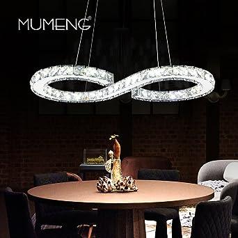 Suspension Led Cristal Lustre Plafonnier Moderne Blanc Froid 6000 6500k éclairage Luminaire De Plafond 23w 60 X 30 Cm