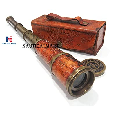 Brass Nautical Antique Working Telescope/Spyglass Replica in Leather Box, with Glass Optics, Extendable to 16 inches, Made of Pure Brass, Decorative Kids Scope: Camera & Photo