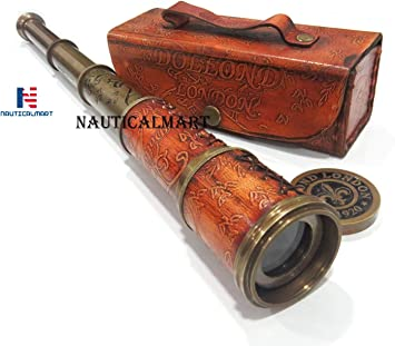 NAUTICAL LEATHER TELESCOPE MARINE ANTIQUE BRASS PIRATE SPYGLASS VINTAGE SCOPE