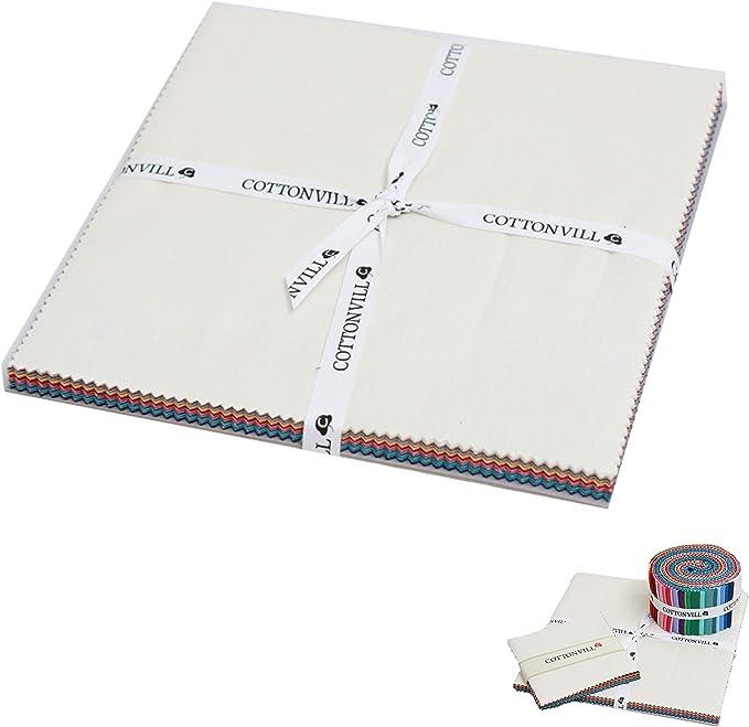 5 Charm Squares 3 Packs Skydiver COTTONVILL Cotton Solid Precut Quilting Fabric Bundle 42 pcs