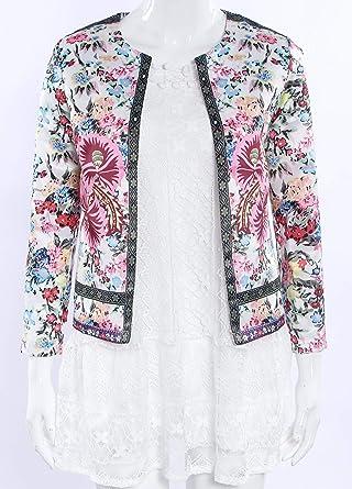 Primavera e Autunno Donna Giacche Moda Manica Lunga Giacca Cardigan Corta Jacket Cime Casual Bohemian Etnico Floreale Tops Cappotto Coat Outerwear