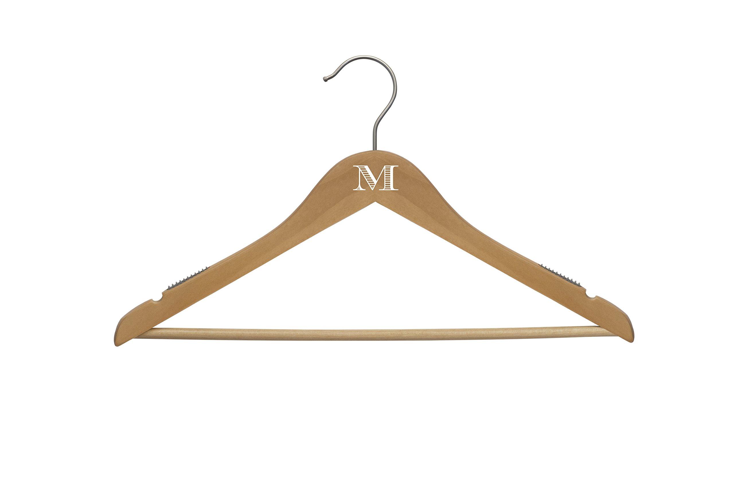 NAHANCO Personalized Wooden Hangers -17'' Monogramed Custom Hangers -20017WBC Natural Top Suit Wood Hanger – 100 piece Pack