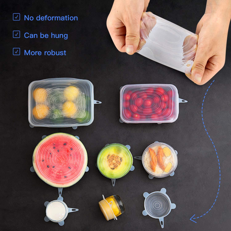 reutilizables y duraderas varias tallas de ahorro de alimentos WEIWEITOE 12 unidades con tapas el/ásticas selladas para mantener los alimentos frescos flexible Tapas de silicona el/ásticas
