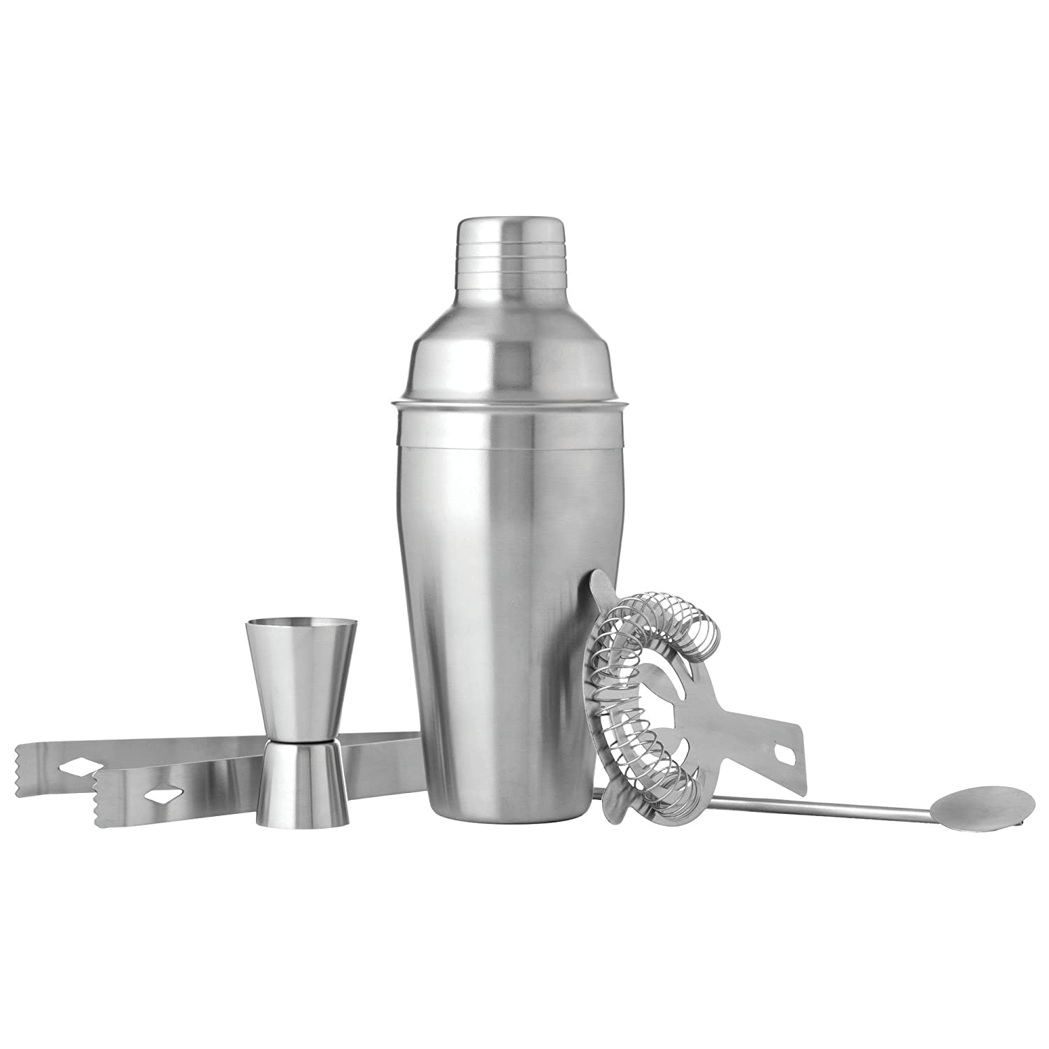 Wyndham House Cocktail Shaker Set for the Home Bar, Great for Martinis, Stainless Steel, 5-Piece