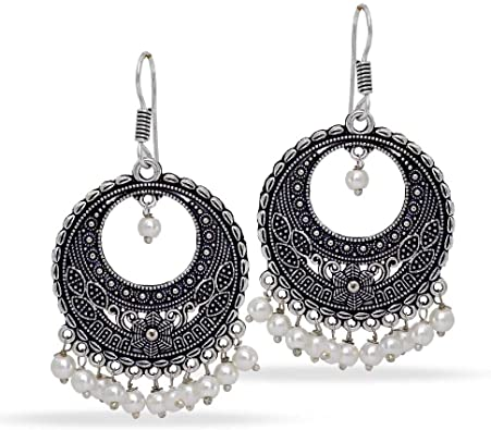 Amazon Com Jaipur Mart Indian Bollywood Glass Stone Silver Plated Earrings White Partywear Pearl Jewellery Jewelry