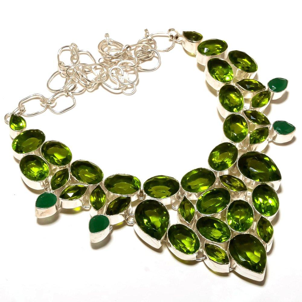 Green Amethyst Quartz Sterling Silver Overlay 96 Grams Neckalce 18 Best Gift Dyed Emerald Handmade