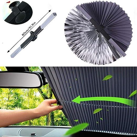 Parasol Autom/ático para Coche Estilo de Acorde/ón Retr/áctil Plegable Universal Parabrisas Parasol Aislante Protector Solar 80cm para Auto//SUV//Camiones