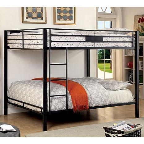 Furniture of America Rivell Queen Over Queen Metal Bunk Bed in Black