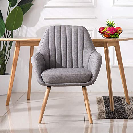 Homy Grigio Living Room Chairs Accent Chair Modern Dining Chairs for  Bedroom Upholstered Mid-Century, Set of 2 (Grey)
