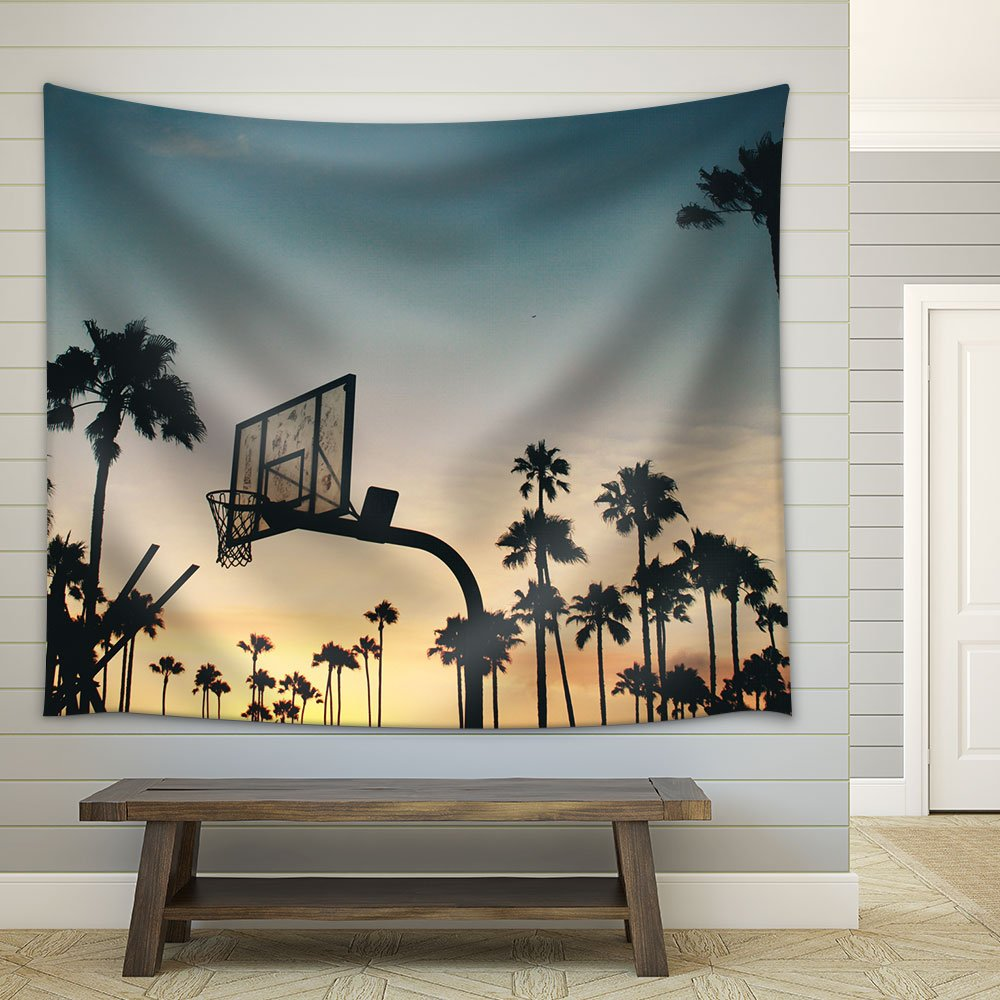 wall26 - Basketball Stands Palm Trees under the Sunset - Fabric Wall Tapestry Home Decor - 68x80 inches