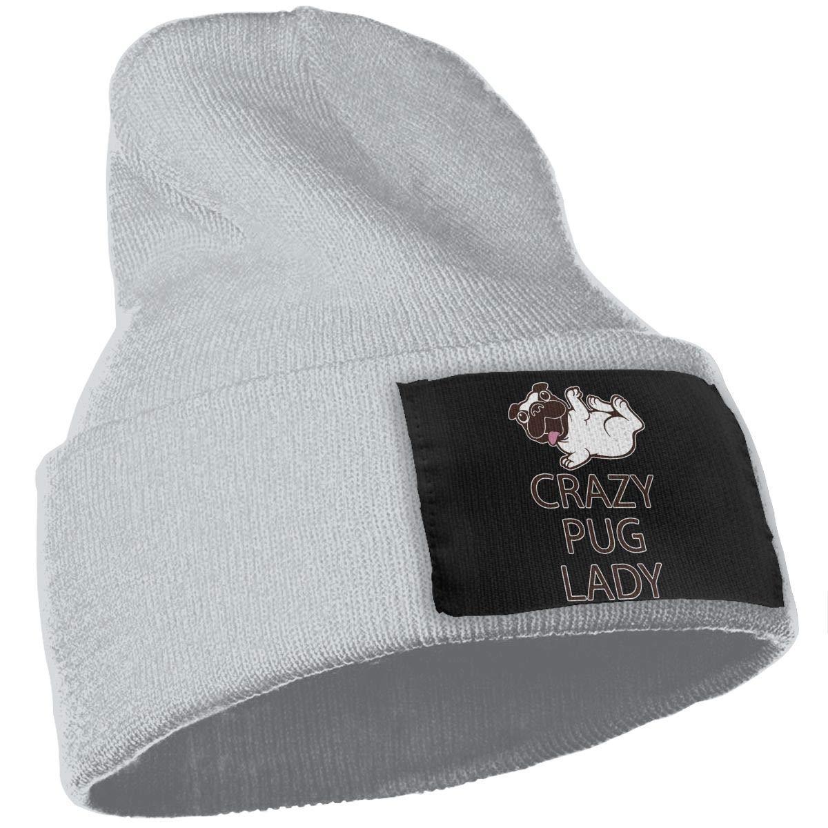Crazy Pug Lady Fashion Ski Cap WHOO93@Y Unisex 100/% Acrylic Knitted Hat Cap