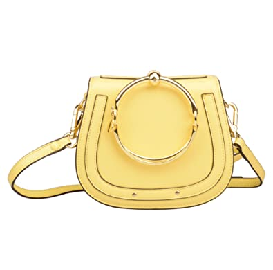 7b99d3b707 Ainifeel Women s Leather Handbags with Bracelet Handle On Yellow(Leather +Suede)