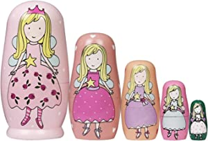 Nesting Dolls Russian Wooden Matryoshka Dolls for Girls Kids Handmade Cartoon Angle Pattern Nesting Doll Toy Children's Day Gift