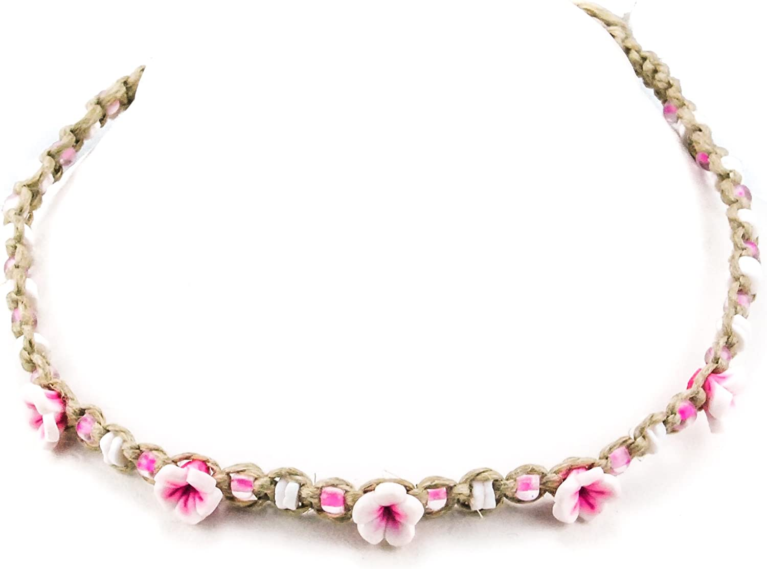 BlueRica Braided Hemp Cord Choker Necklace with Puka Shell Beads & Pink Fimo Flowers