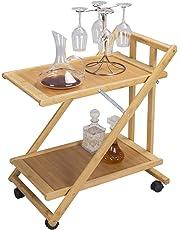 eSituro Carrito de Cocina Móvil Estantería de Cocina con Ruedas Mesa de Servicio Plegable Carrito de