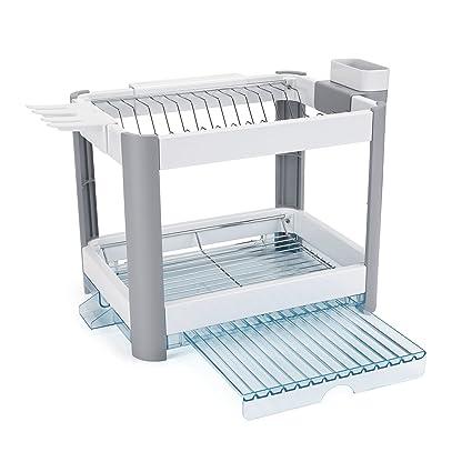 d8845039333b Minky Twin Tier Extending Dish Rack, White, 30 x 41.5 x 14 cm:  Amazon.co.uk: Kitchen & Home