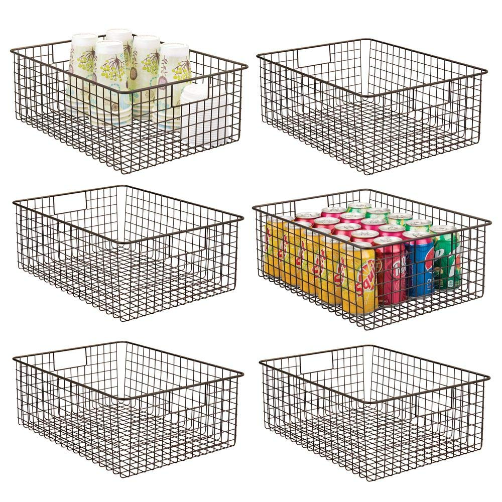 mDesign Farmhouse Decor Metal Wire Food Organizer Storage Bin Baskets with Handles for Kitchen Cabinets, Pantry, Bathroom, Laundry Room, Closets, Garage - 6 Pack - Bronze