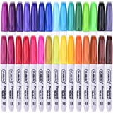 30 Colors Permanent Markers, Fine Point, Assorted Colors, Works on Plastic,Wood,Stone,Metal and Glass for Doodling, Coloring, Marking by Shuttle Art