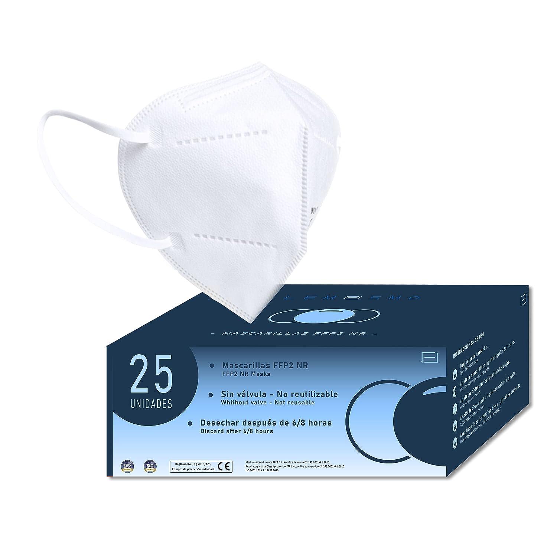 LEMESMO Mascarillas FFP2 Blancas Ultra Protección Homologadas. 5 capas. Certificado CE EN149:2001+A1:2009. Cajas de 25 unidades.