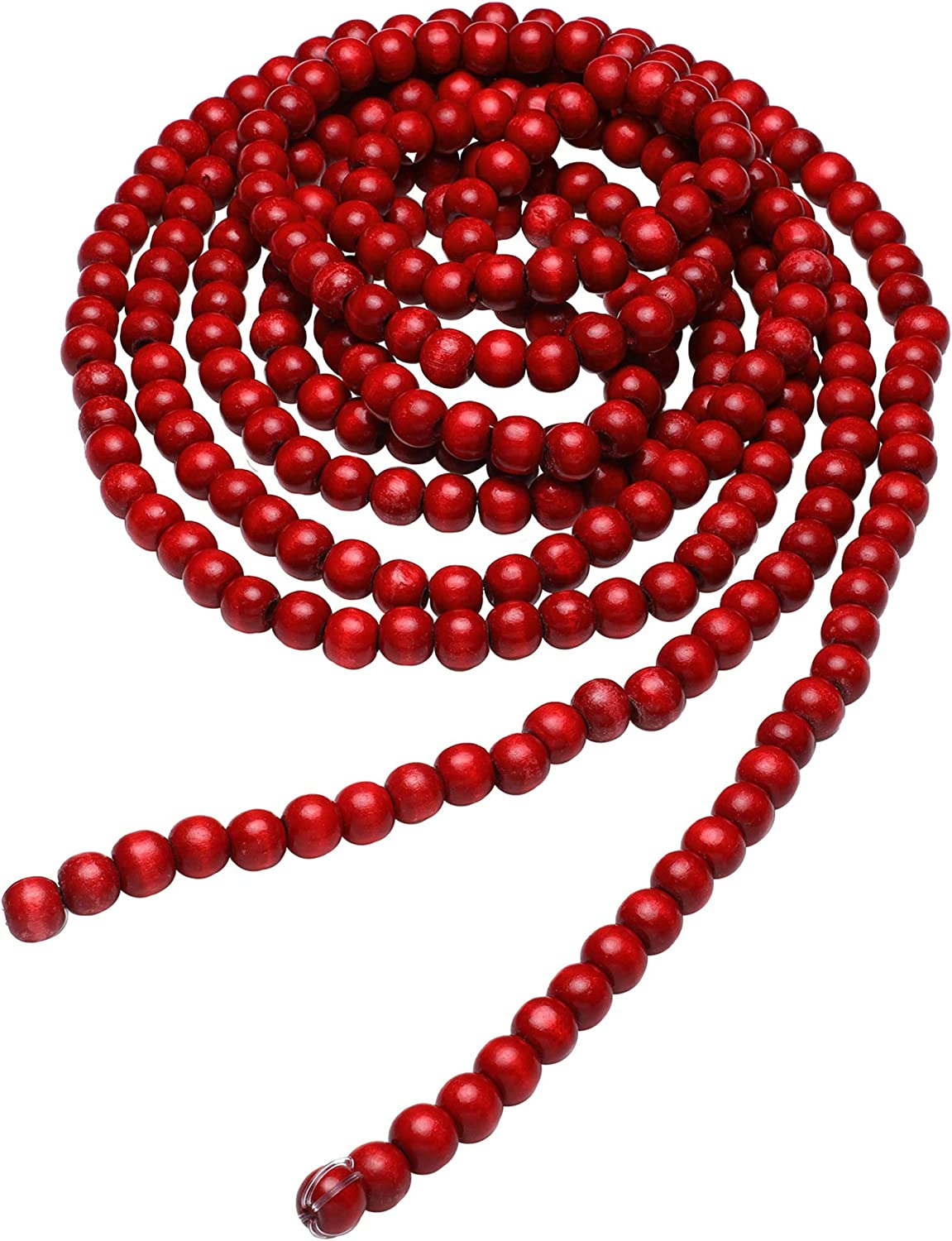 Hicarer Christmas Wooden Bead Garland Red Wood Bead Garland Christmas Tree Decorations for Christmas Holiday Favors, 12 Feet (Red)