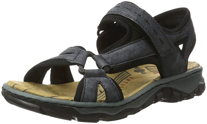 Womens 68879 Wedge Heels Sandals, Mehrfarbig (Ice-Multi/Silverflower), 3.5 UK Rieker