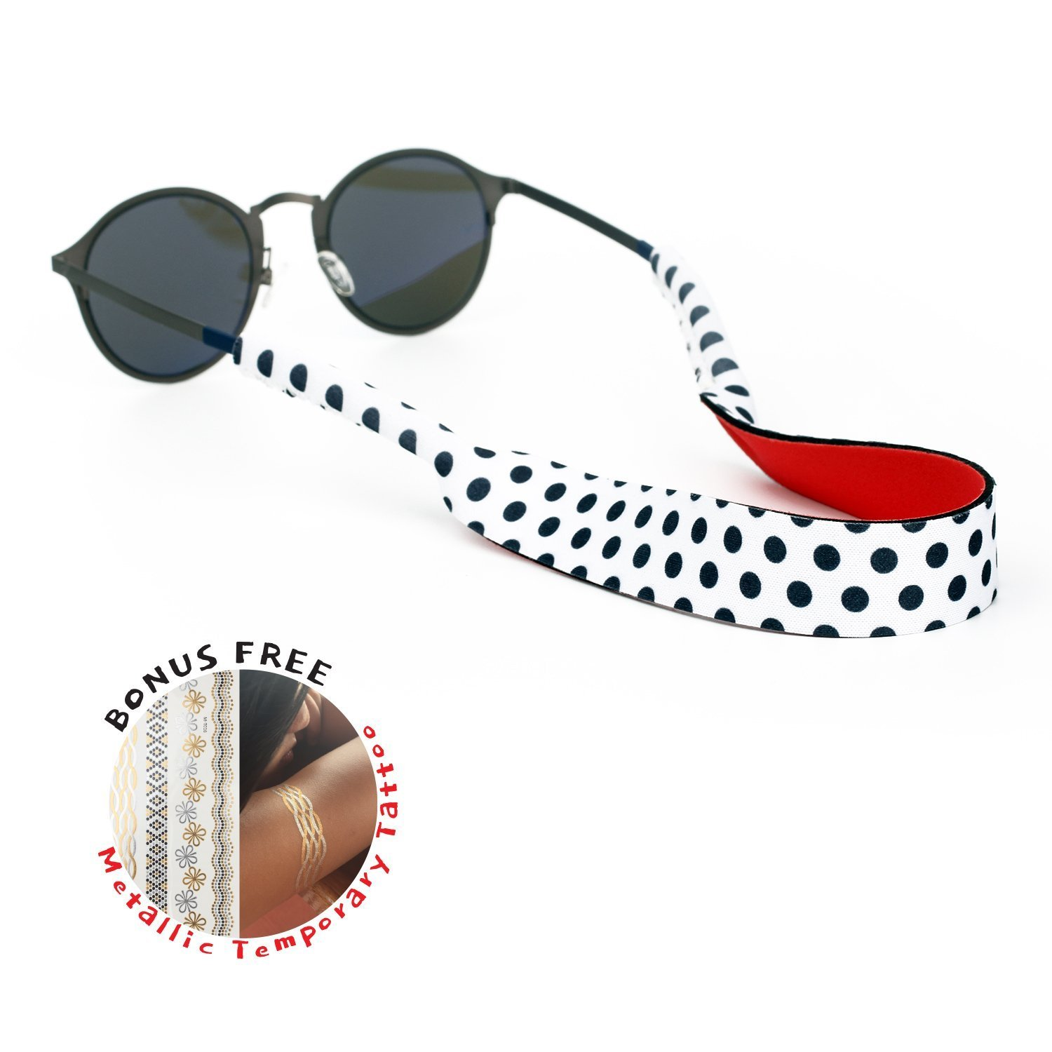 Kiwawa Floating Sunglasses Strap - The Premium Eyewear Retainer designed to float made with soft and durablee floating neoprene material, securing your glasses, glasses and eyewear (Dot Dot)