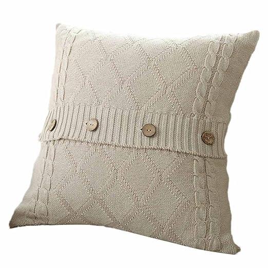 Fundas de cojín, sofá angelof almohada de botón de tejer ...