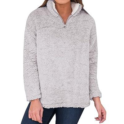 Womens Fleece Sherpa 1/4 Zip Pullover Sweatshirts Fuzzy Jackets Coats Long Sleeve Tutleneck Fall Winter Tops at Women's Clothing store