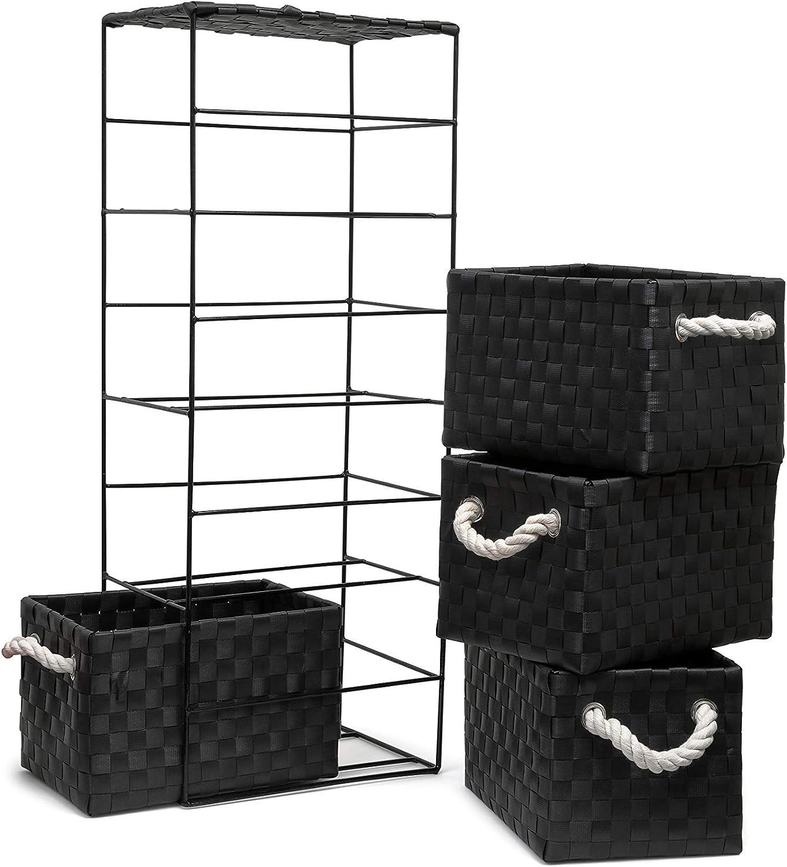 ARPAN Aufbewahrungsschrank mit 2 Schubladen 2 Schubladen Schlafzimmer 18 x 25 x 33 cm B/üro ideal f/ür Zuhause Schwarz