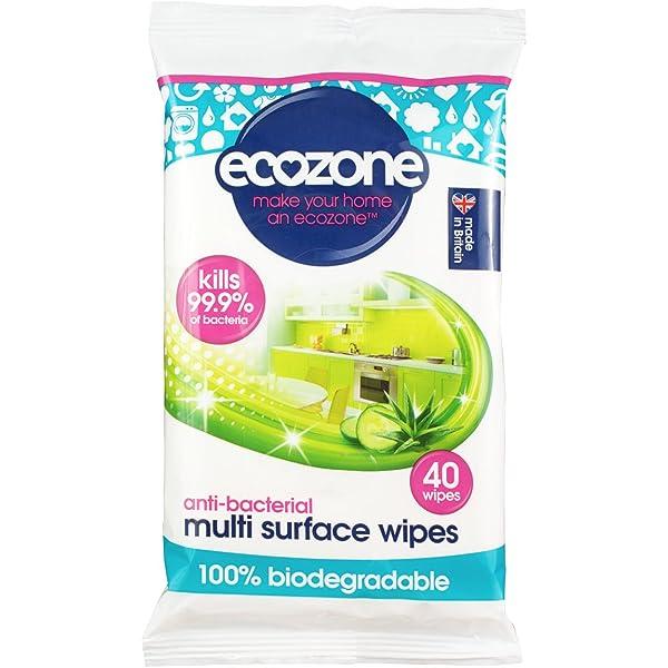 Ecozone antibacteriano Multi superficie Biodegradable Toallitas 40 ...