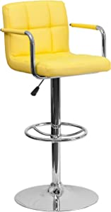 Flash Furniture Contemporary Yellow Quilted Vinyl Adjustable Height Barstool with Arms and Chrome Base