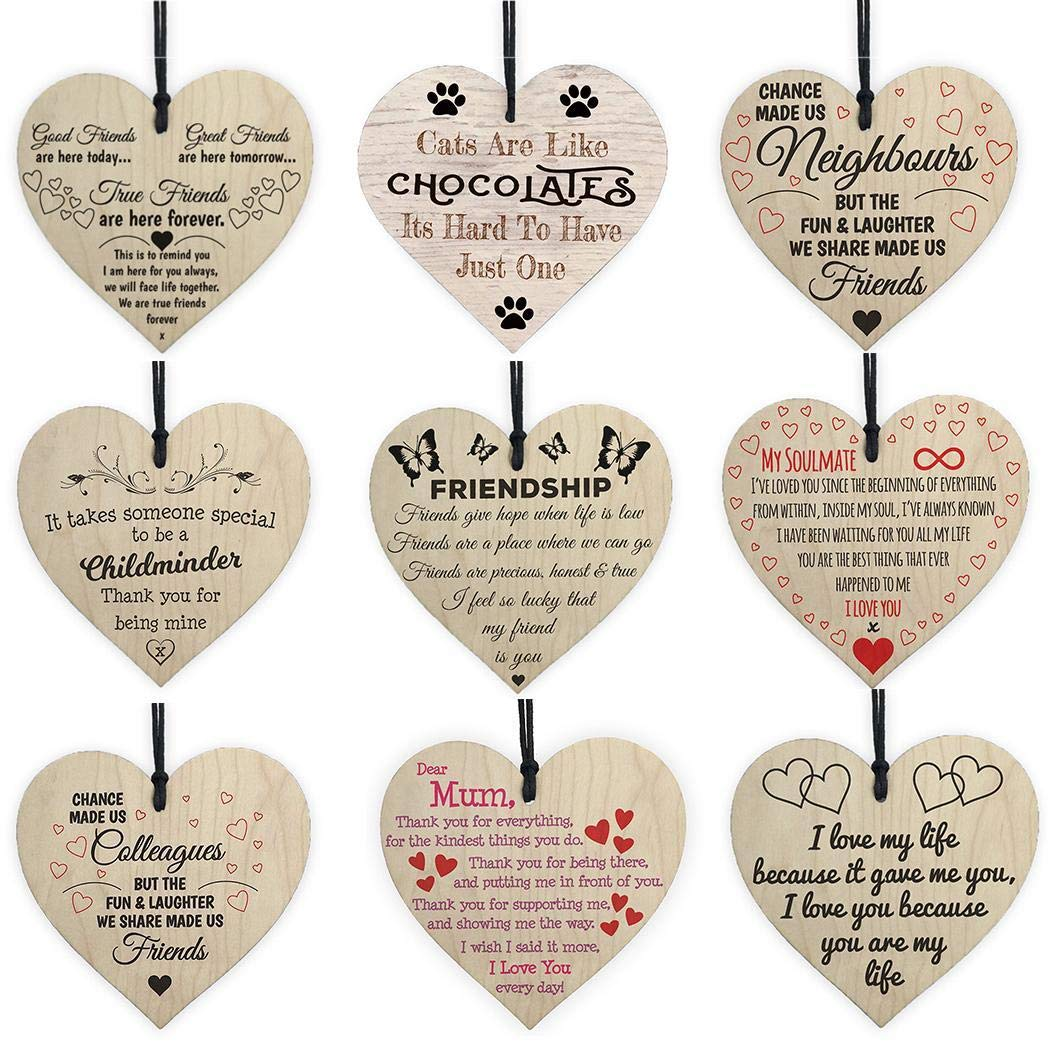 Benlet Wooden Hanging Heart Shape Decoration Christmas Tree D/écor Ornaments