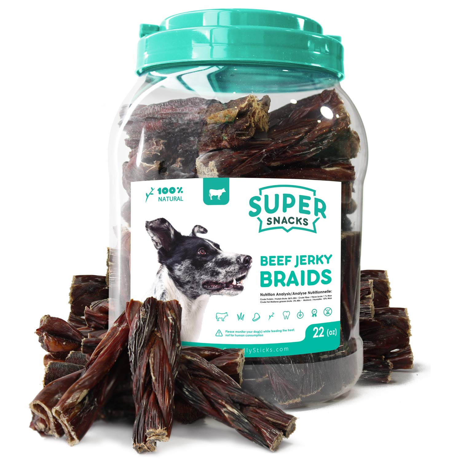 SUPER CAN BULLYSTICKS Premium Beef Jerky Chews for Dogs – 100 Natural Gullet Sticks and Strips – Free Range Grass Fed Sourced Beef Sticks