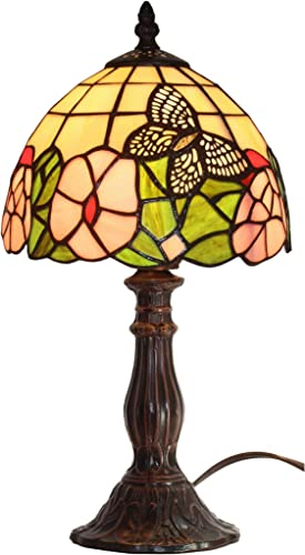 Amora Lighting Tiffany Style Mini Accent Lamp Yellow Green Red Floral Butterfly Flower Antique Vintage Bedside Nightstand 15 Tall 8 Wide D cor Handmade Gift AM042TL08B, Multicolored