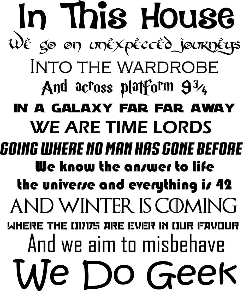 in This House We Do Geek Wall Decal Harry Potter Star Wars Game of Thrones Quote Inspirational Sayings Lettering Vinyl Sticker Motivational Gift Home Bedroom Decor Art Poster Mural Custom Print 631