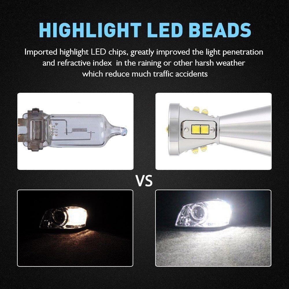 9006 HB4 LED Feu de brouillard ampoules 90 W 1500lm 6000 K Blanc froid W//LED Cree Chips pour frein Tour Signal//lumi/ère//DRL Ampoule de brouillard lampe lot de 2 1 An Garantie