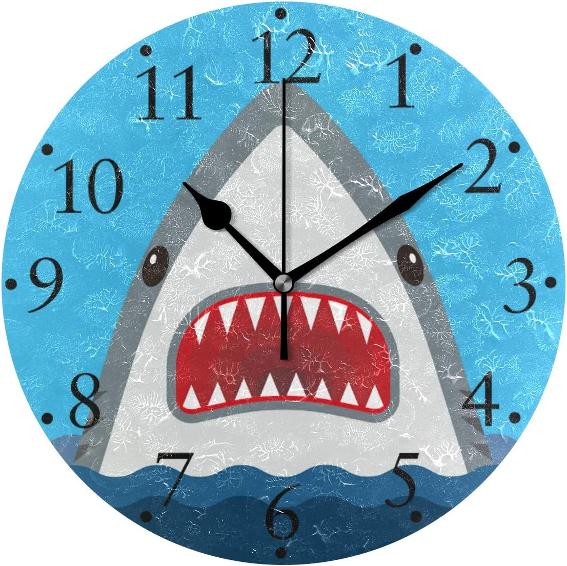 VIKKO Shark with Open Mouth Ocean Animal Wall Clocks Battery Operated Home Decorative Round Wall Clock 9.4 Inch Kitchen Bedroom Living Room Classroom Office Clock