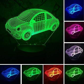 3D Cars Usb Touch Led Mesa Escritorio Dormitorio Lectura Colorido ...