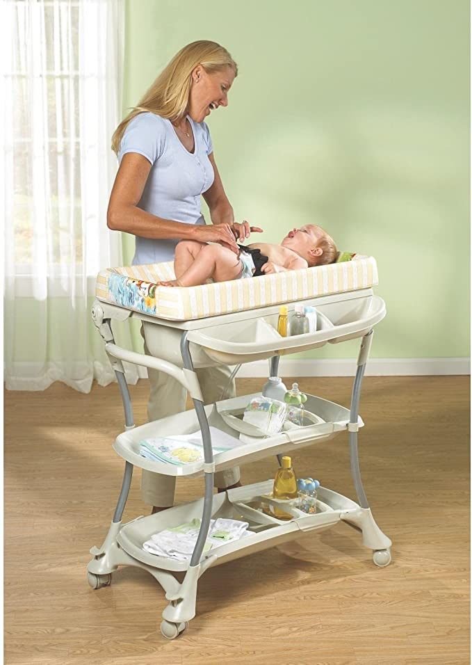 Baby Nappy Changing Table Unit Station Storage Trays And Bath Tub 0-12 Months