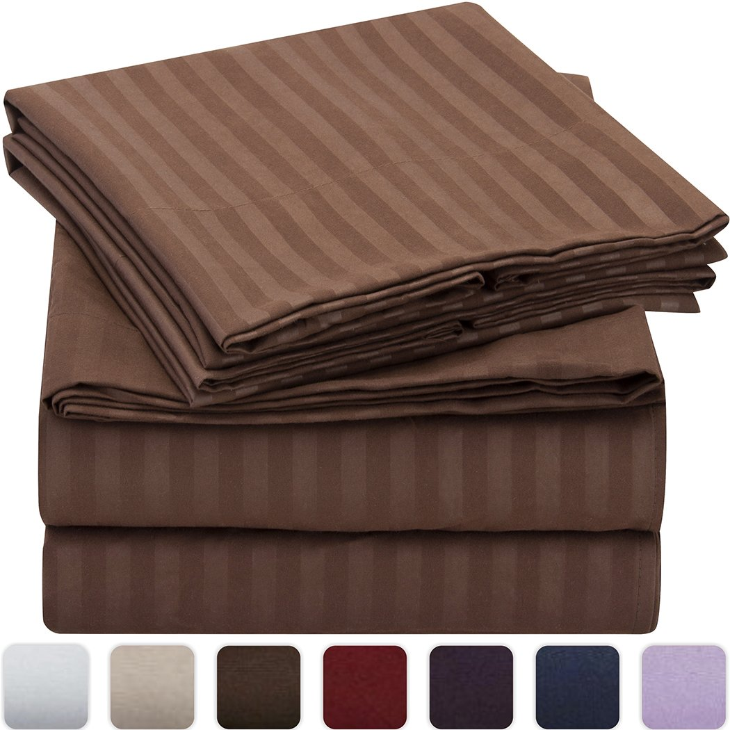 Mellanni Striped Bed Sheet Set - HIGHEST QUALITY Brushed Microfiber 1800 Bedding - Wrinkle, Fade, Stain Resistant - Hypoallergenic - 3 Piece  Brown