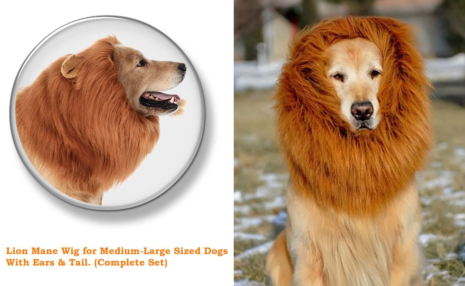 Lion Mane Costume for Medium-Large Size Dogs + 2 Bonus Dog Toys (L) + Lion Tail. A Perfect Party cosplay Halloween Wig Clothes Gift For Big Dog. Realistic,Comfortable, Funny, Washable Brown Lion Mane