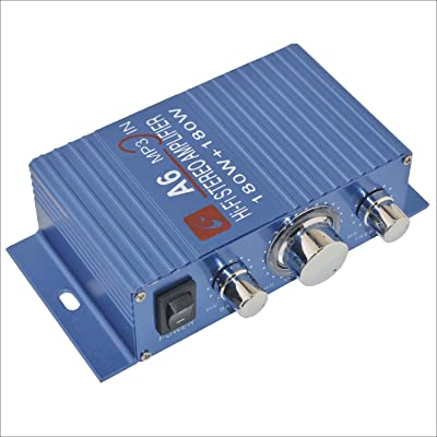 A6 Portable Dual Channel Surround Sound Hi-Fi Stereo Amplifier for Car/Motorcycle-Blue 180W: Car Electronics