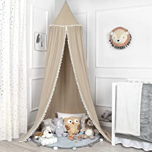 TILLYOU Baby Bed Canopy with Pompoms, 100% Cotton Canopy for Crib and Toddler Bed, Hanging Game Tent for Kids, Mosquito Net Nursery Play Room Decor, Khaki