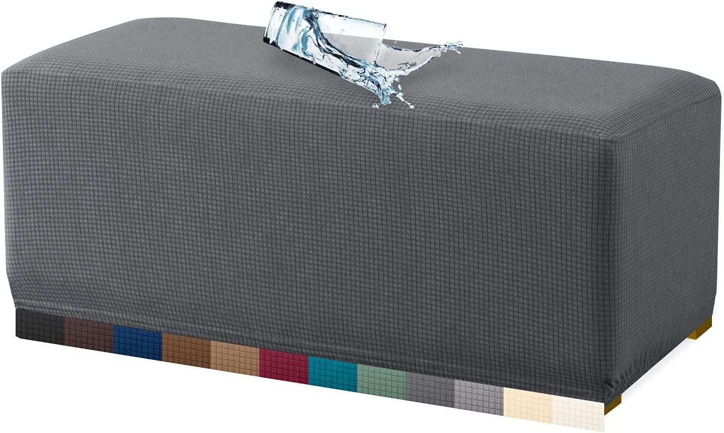 Granbest Premium Water Repellent Ottoman Cover High Stretch Rectangle Folding Storage Stool Ottoman Slipcovers (Ottoman Oversized, Gray)