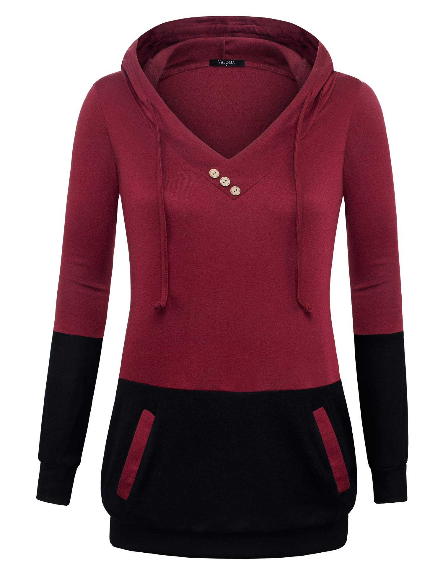 VALOLIA Tunics Sweatshirt for Women, Long-Sleeved Classic Pullover Hoody Sweater Lightweight Thin Tops Wine L