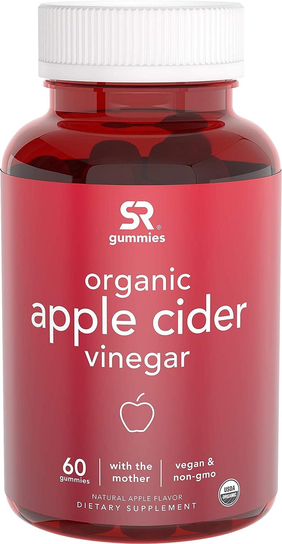 New! Organic Apple Cider Vinegar Gummies with The Mother | Non-GMO Verified, Vegan Certified (60 Vegan Gummies)