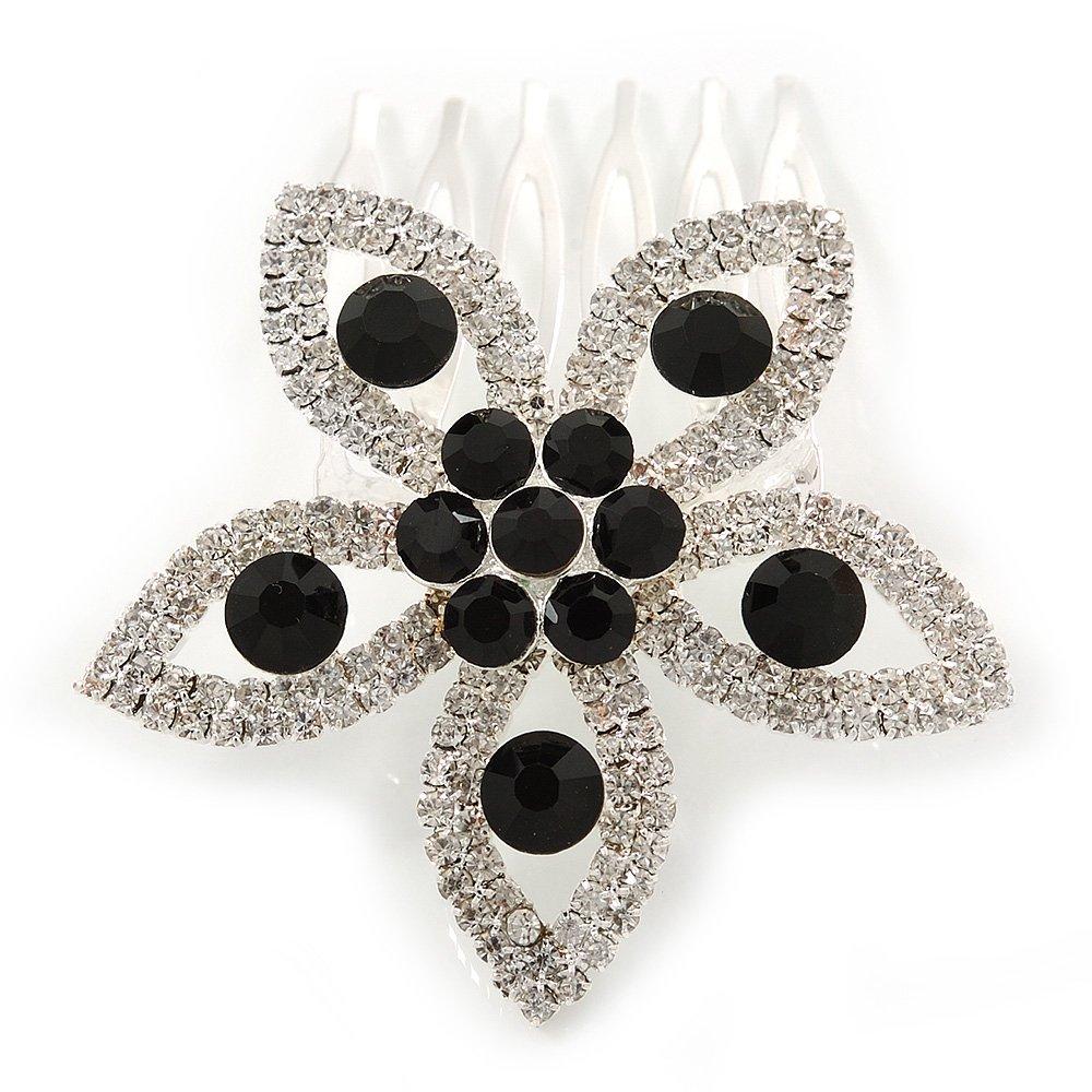 // boda/despedida de rodio de la fiesta de graduación en claro/Negro peine del pelo de la flor de cristal austriaco - lado de 55 mm W Avalaya