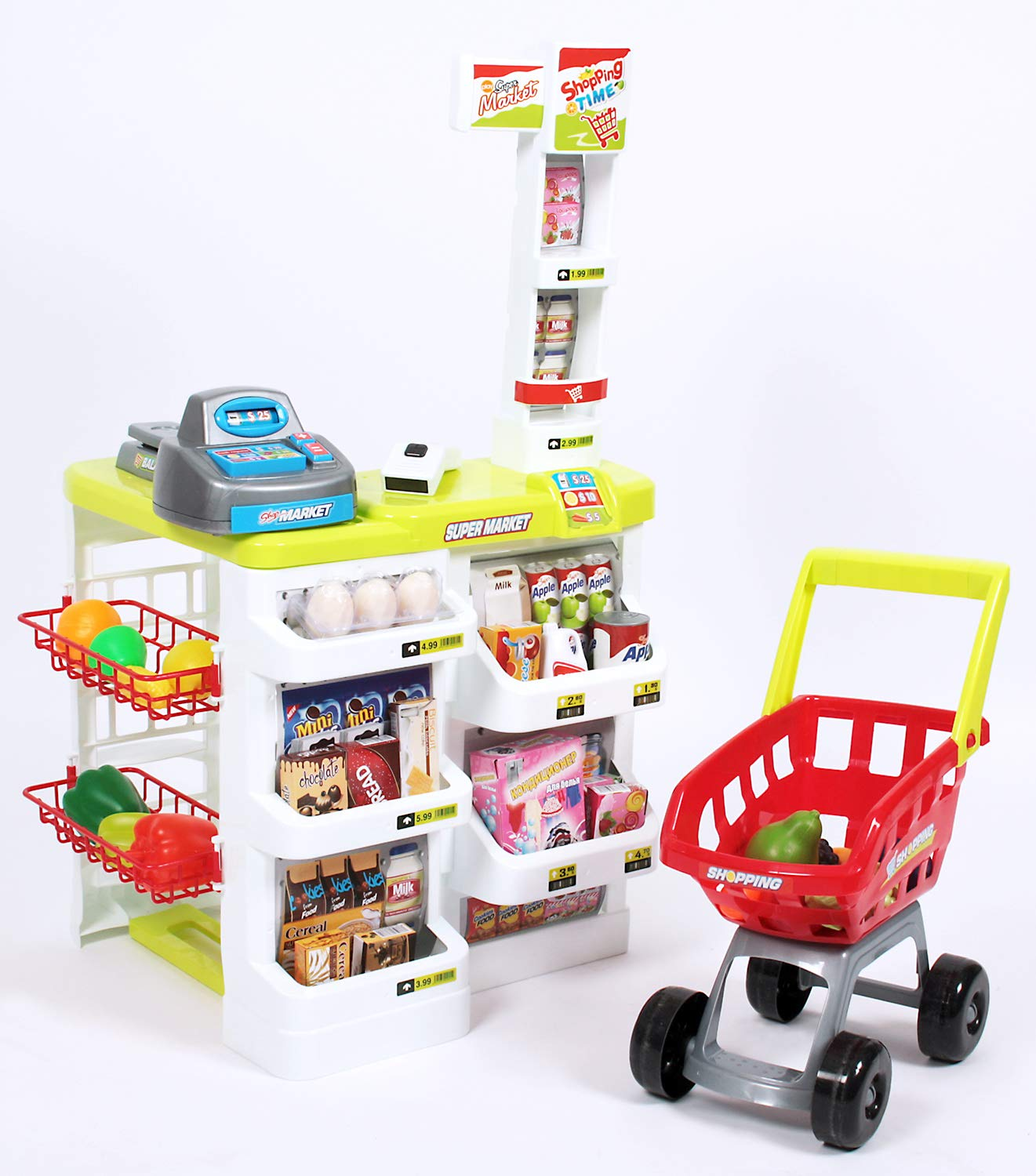 O.B Toys&Gift Deluxe Supermarket Toy Play Set for Kids - Grocery Store & Trolley w/ Working Scanner , Cash Register & Shopping Cart , Kids Pretend Play Grocery by O.B Toys&Gift